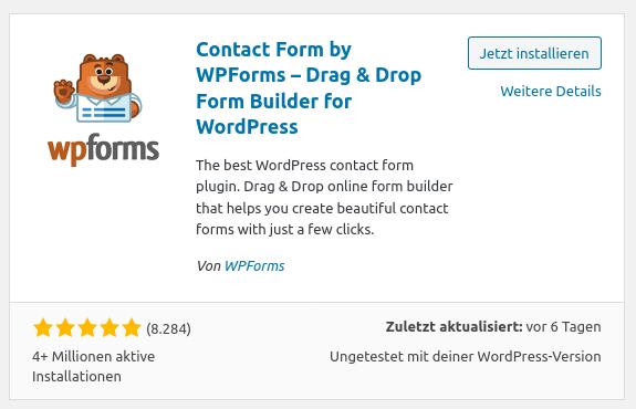 WP Forms - Kontaktformular (Schritt 1)
