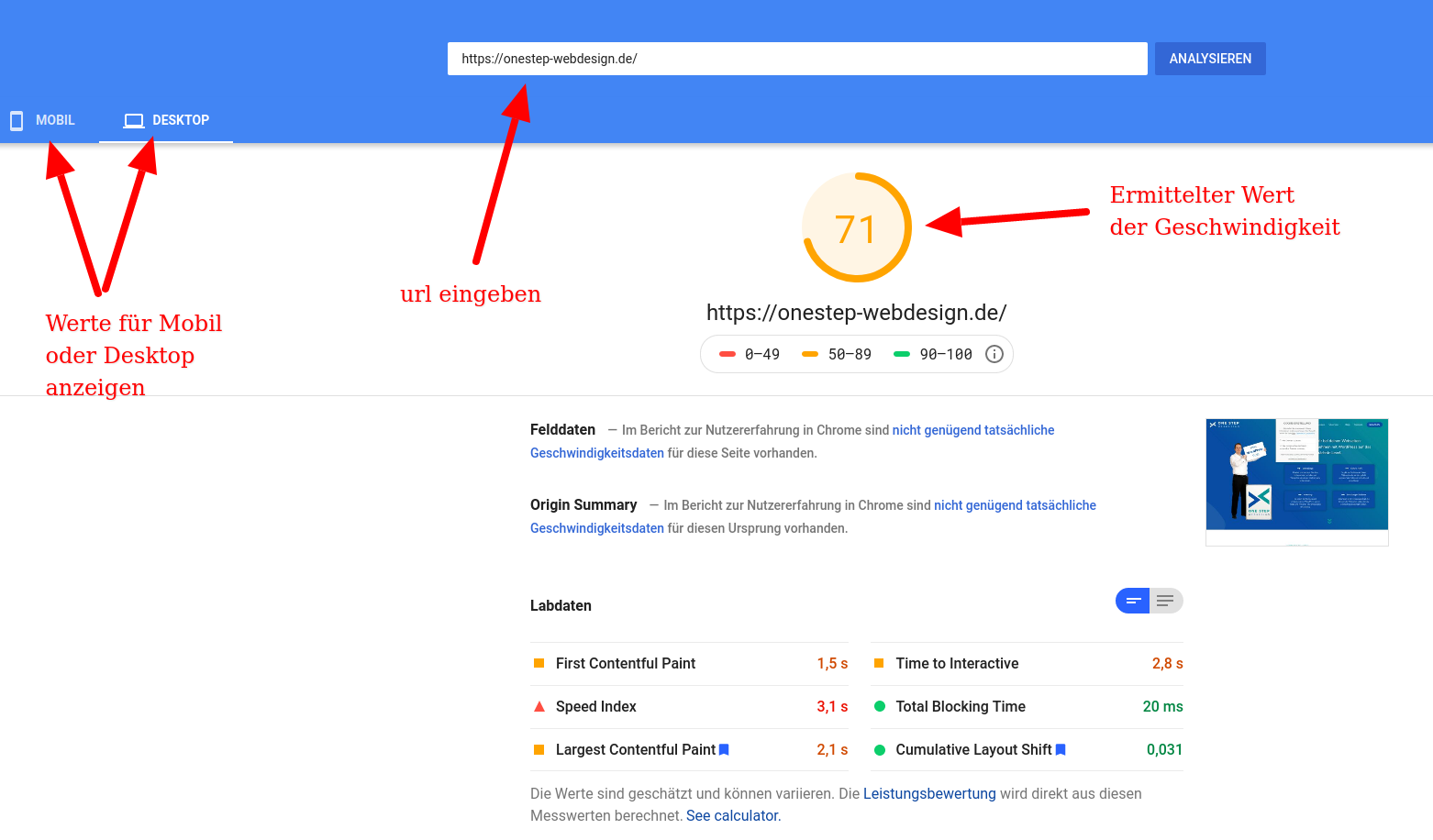 Beispiel Google Pagespeed Insight