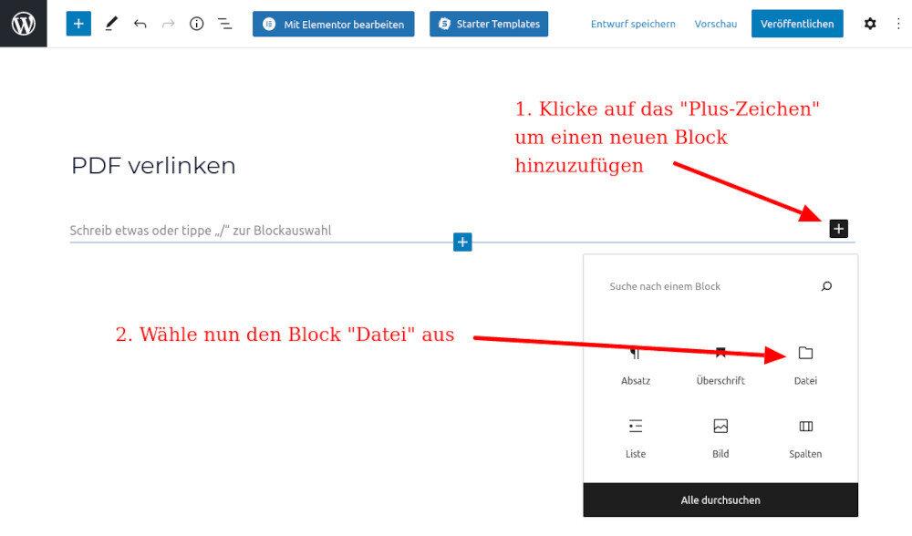 PDF verlinken in WordPress 1