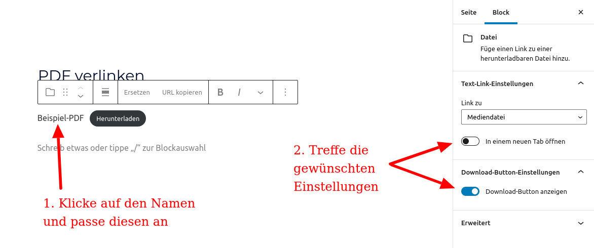 PDF verlinken in WordPress 3