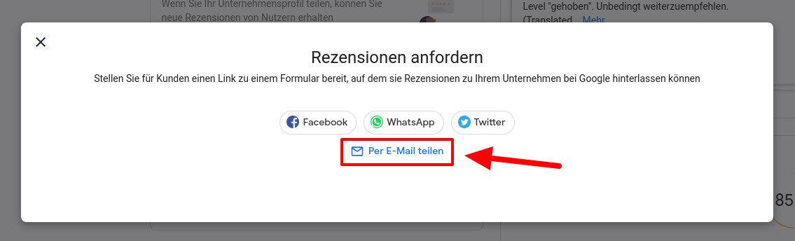 Google My Business - Per Email teilen
